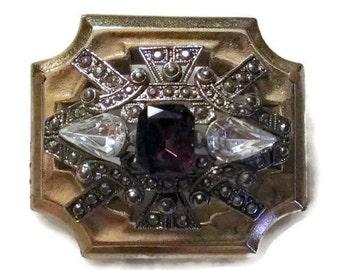 Vintage Amethyst Crystal Rhinestone Florette Brooch / Pin / Pendant