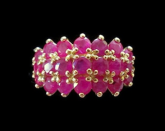 10k Ruby Red Pink Glass Yellow Gold Ring Size 7