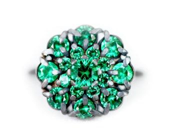 Cluster ring - alpinite gemstone - vibrant green gemstones - silver oxydise