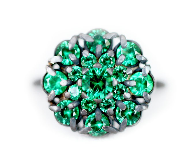 Cluster ring - alpinite gemstone - vibrant green gemstones - silver oxydise
