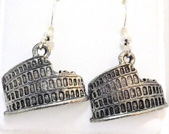 Pewter Roman Coliseum Charms on Sterling Silver Ear Wire Dangle Earrings  - -0849