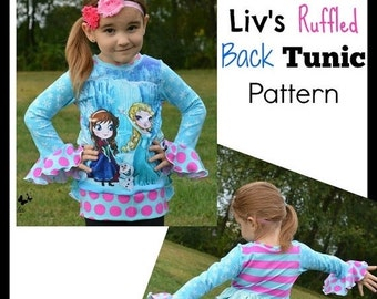 30% OFF Sale Liv's Ruffled Back Tunic PDF Sewing Pattern Euro Girls Upcycle Pattern Sizes 6-12m - big girl 12 Instant Download Little4Awhile