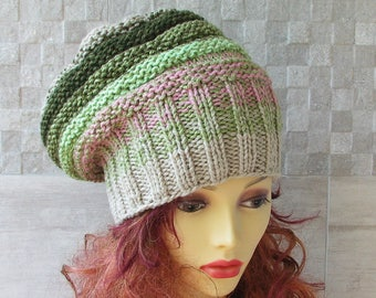Womens Knit Hat Slouchy Hat Slouchy Women Hat  Slouch Beanie Colorful Women Hat Oversized Hat Chunky Knit Hat Beanie  - OOAK