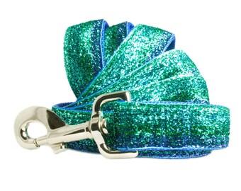 "Glitter 1"" Dog Leash 4' L - The Best Blue Bling Dog Leash"