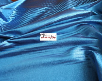 Blue Metallic Taffeta Fabric..great for costumes, dance, theater, formal wear, pageant.