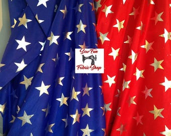 Blue or Red Lycra with Silver Stars. Nylon Stretch Fabric...great for costumes, dance, theater, formal wear, pageant.