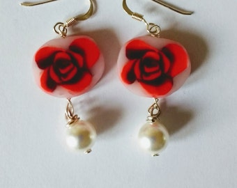 Rose earring, unique jewellery, one of a kind, flower earrings, gift idea, mother's day