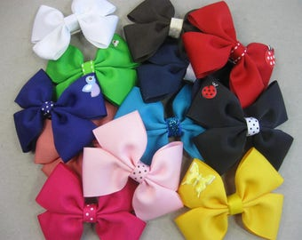 Set of 12 Girls Hair Bows, Toddler Hair Bow, Hair Clips, Girls Bows with French Barrette, Birthday Gift