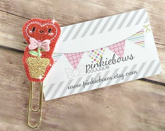 Pink/Red/Heart Flower/Sparkle Applique Paper Clip/Planner Clip/Bookmark/Journal Marker