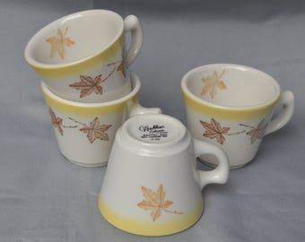 "eb1842-d Four VINTAGE Restaurant Ware Diner Coffee Cups ""Walker China Bedford Ohio ALCO Standard Corporation"" - Maple Leaf Deco eb1842-d"