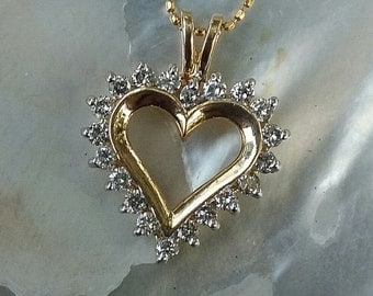 14kt Yellow Gold Diamond Heart Necklace A376