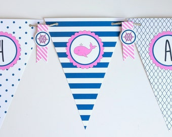 Nautical Party Decor Party Banner Baby Shower Banner Birthday Party Decoration Baby Girl Shower Bridal Shower Decor Custom Party Decor