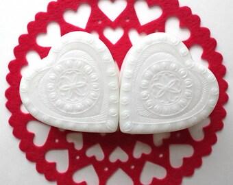 Vintage White Plastic Heart Shaped Boxes*Valentine Trinket Box*Set of 2