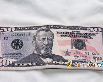 Fake 50 Dollar Bill Money Wallet for Males, Men, Dad, Teen -Ulysses Grant Money Clip, Slim Billfold Wallet, Gift Card Holder, Money Envelope