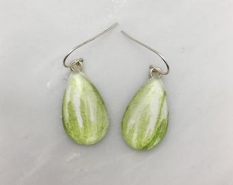 Sap Green - Watercolor Earrings