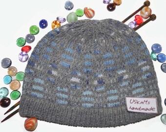 Knit beanie - plaid beanie - women beanie - men beanie - gift for her - sport beanie - grey beanie - gift for him - winter hat - blue beanie