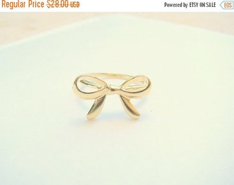 New Year Sale - Bow ring, Bow gold ring, Ribbon ring, Gold ribbon ring, Knot ring, Knot ribbon ring, Best friends ring, Forget me knot ring,