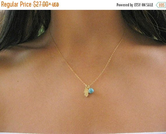 SALE - Tiny Hamsa necklace - Hamsa necklace - Gold hamsa necklace - Turquoise necklace - Thin hamsa necklace
