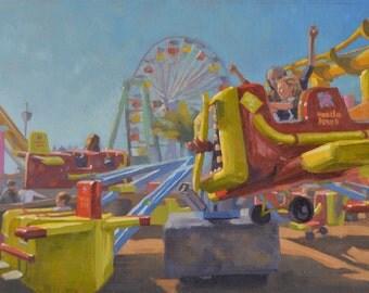 Carnival - Fair - Plein Air - Oil Painting - Landscape - Ride - Fun - Amusement Park - Santa Monica Pier - Impressionism - Ferris Wheel