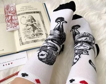Alice in Wonderland Socks - Ladies Socks - Gift for Book Lover - Book Socks - Novelty Socks - Literature Gift - Gift for Her - Womens Socks