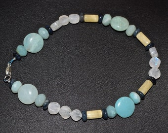 """Amazonite & Aragonite Clarity, Anger Sterling Silver 9 1/2"""" Anklet"""