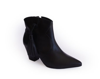 Black BOOTIES Low Heel black Ankle Boots Black Boots sale