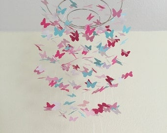 dark medium and light pink green and pearl white butterfly mobile, crib mobile, nursery mobile, pink paper butterfly mobile, paper mobile