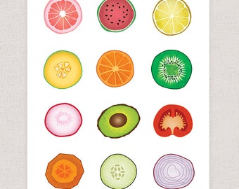 Kitchen Art Print  - Art Collage Print - Fruits and Vegetables Art Print