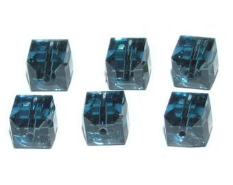 Swarovski Crystal Elements Cube Faceted 6mm Montana Sapphire Beads 5601