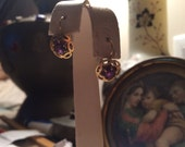 18k gold amethyst old earrings pierced lever back