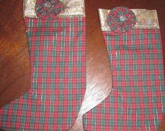 Red/Green Plaid Folk Art Christmas  Stockings (Set of 2)