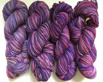40% Off Cashmere Merino Cherry Tree Hill Handpaints DK Yarn Whimsy Purples Pinks 285 Yards