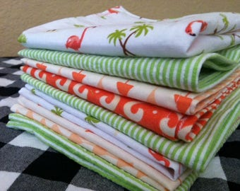 Flamingo, Orange and Green Cocktail Cloth Napkins, Perfect for Summertime, Set of 8, by CHOW with ME