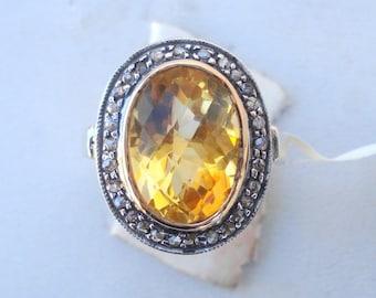 Victorian Diamond & Citrine 14 Ct Gold Silver Ring India