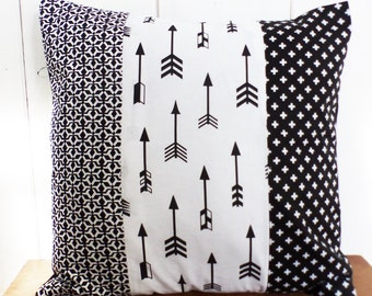 Cushion cover - 40 x 40 cm - patchwork fabrics arrows and geometric black and white