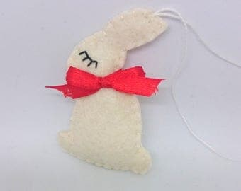 Bunny ornament from felt - handmande ornaments - Easter rabbit - home decoration - Baby shower - natural eco friendly