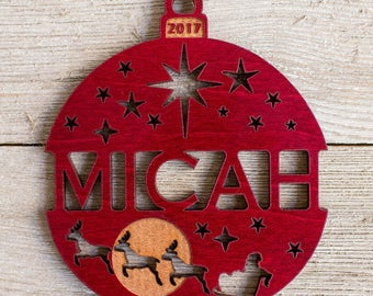 Personalized 2017 Santa's Reindeer Christmas Ornament - Red Maple