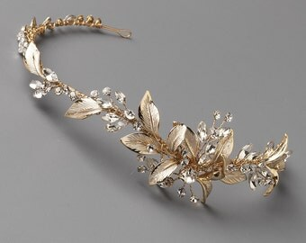 Gold Floral Headband, Gold Wedding Headband, Floral Headband Wedding, Flower Headband, Floral Bridal Headband, Gold Headpiece ~TI-3282-G