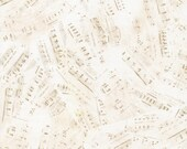 Sheet Music Fabric, Tan Music Notes on Cream, Cotton Quilting Fabric, Yardage, Clothing Material,  Fat Quarter, Half Yard, By the Yard
