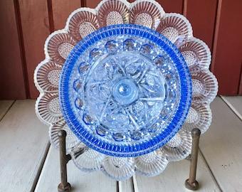 """Repurposed Glass Flower, Sun Catcher Glass Garden Art - """"Moana"""" Ocean Blue Glass Crystal Flower, Made from Glass Plates"""