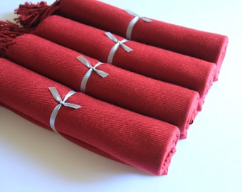 Set of 4 Burgundy Pashmina Scarves for Bridesmaids and Guests, Burgundy Bridal Wrap and Gift Keepsake, Wedding Shawl in Burgundy for Bride