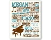 Joueur de piano typographie affiche, Art joueur de Piano, pianiste cadeau, joueur de Piano cadeau, cadeau de professeur de Piano, joueur de Piano Art, toile de Piano