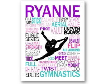 Gymnastics Typography Art Canvas or Print, Girl's Room Art, Choose Any Colors, Personalized Gift for any Gymnast, Gym Team or Coach Canvas