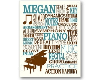 Piano Player Typography Poster, Piano Player Art, Pianist Gift, Piano Player Gift, Piano Teacher Gift, Piano Player Art, Piano Canvas