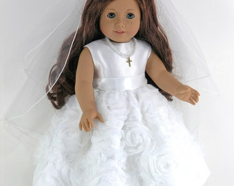 Handmade First Holy Communion Doll Dress for American Girl - Cross Necklace, Veil, Pantalettes - Satin, Floral Overlay