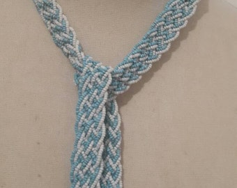 Rare Vintage beaded flapper plaited rope tassel necklace