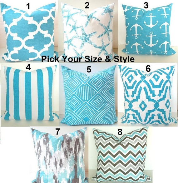 Turquoise PILLOWS Aqua Blue Pillow Covers Turquoise Throw