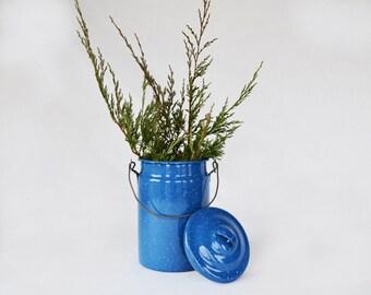Vintage Blue Enamel Milk Pail | Blue Enamel Spatterware | Farmhouse Decor | European Style