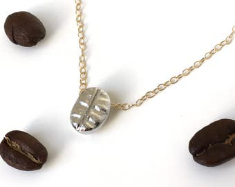 Coffee bean necklace,Choker,Womens jewelry,Womens necklace,Charm necklace,Mom necklace,Mommy and me,Dainty necklace,Simple necklace,Coffee