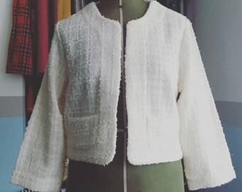 Chanel style jacket from ivory Linton tweed. UK size 18 us size 14. Retro vintage style.